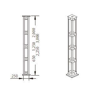 四角支柱 SSL125