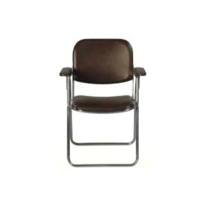 折りたたみ椅子肘付 茶色