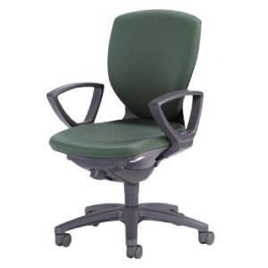 回転椅子両肘付CR−G253布緑HP25