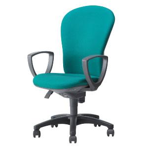 回転椅子両肘付CR−G203布緑HS24