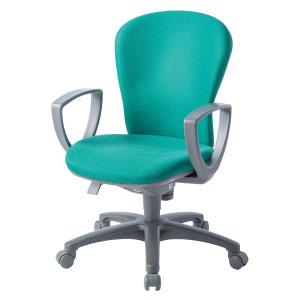 回転椅子両肘付CR−G201布緑HS24