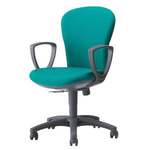 回転椅子両肘付CR−G211布緑HS24